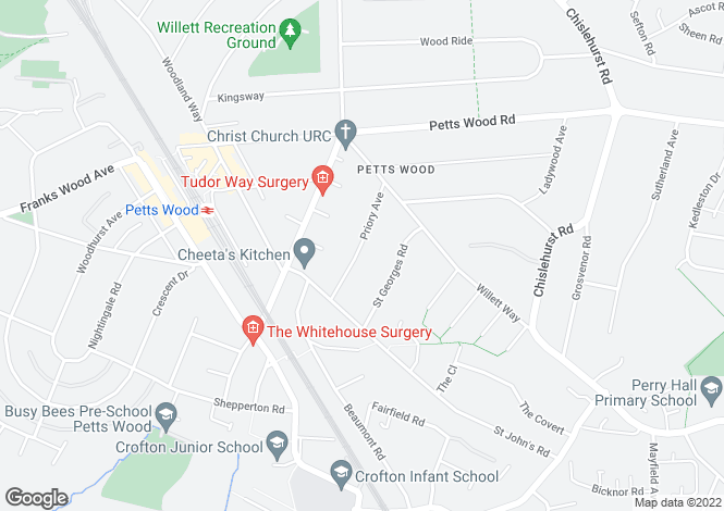 Map for Priory Avenue, Petts Wood, Orpington, Kent