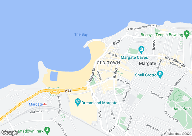 Map for 46 High Street & 18 Marine Drive, Margate, Kent