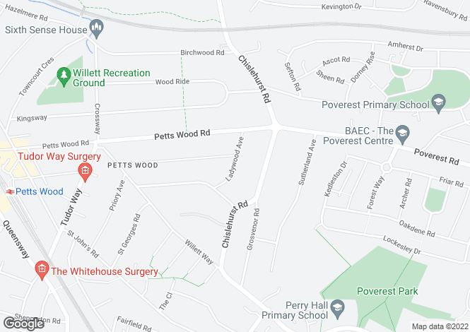 Map for Ladywood Avenue, Petts Wood, Orpington, Kent