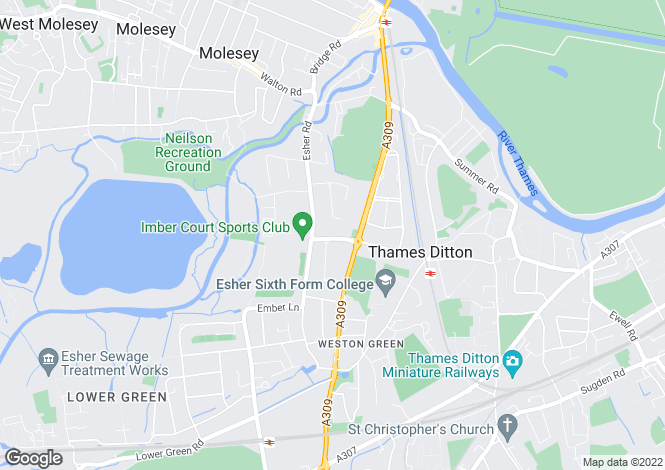 Map for Embercourt Road, Thames Ditton, KT7