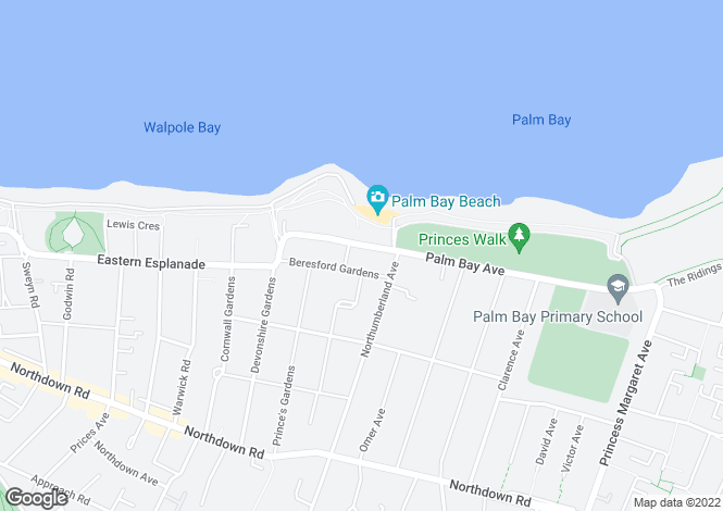 Map for 'Bay View', 14 Palm Bay Avenue, CLIFTONVILLE, Kent