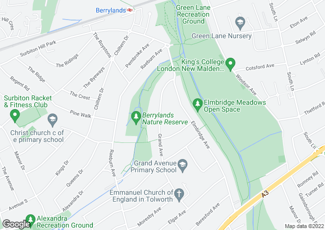 Map for Grand Avenue, Surbiton, KT5