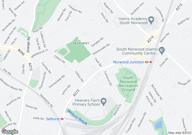 Map for Selhurst Road,  South Norwood