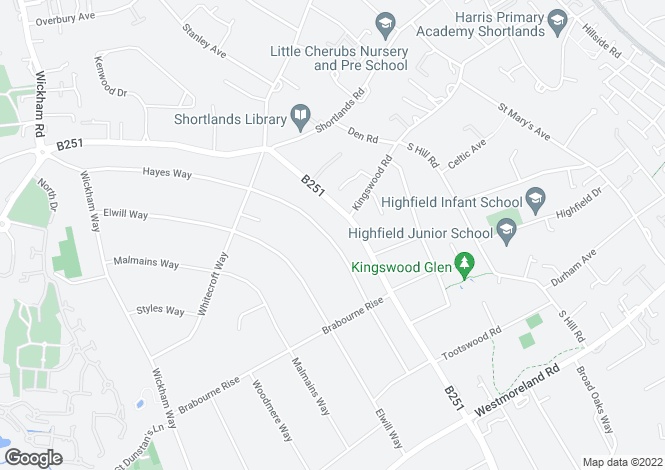 Map for Hayes Way, Park Langley, Beckenham