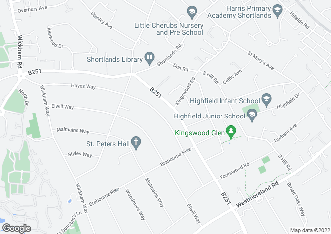 Map for Hayes Way, Beckenham, Kent