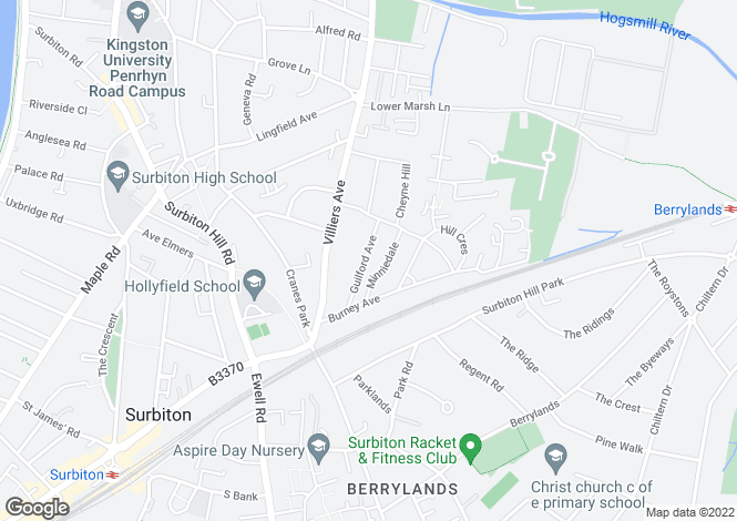 Map for Guilford Avenue, Surbiton, Surrey, KT5