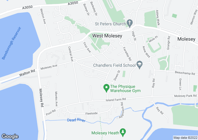 Map for Eastcote Avenue, West Molesey, Surrey, KT8