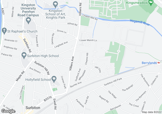 Map for Surbiton, KT5