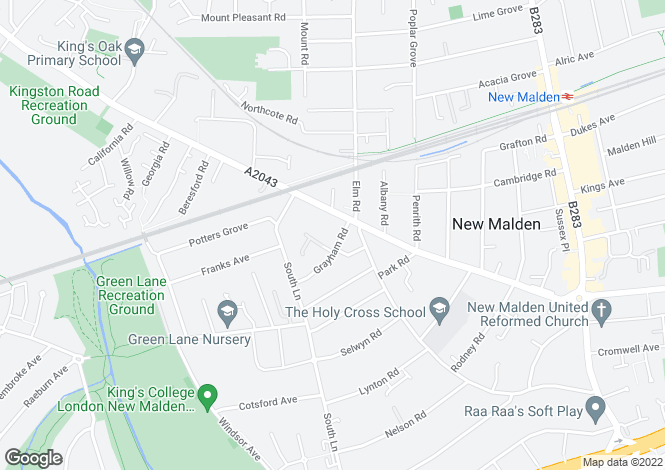 Map for Grayham Road, New Malden