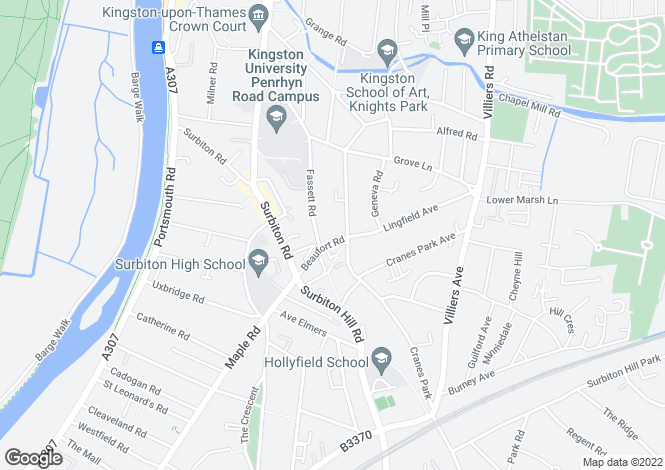 Map for Beaufort Road, Kingston Upon Thames, KT1