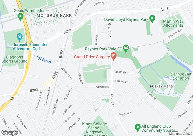 Map for Meadow View Road, Raynes Park