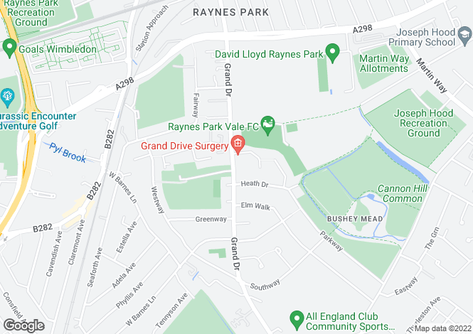 Map for Grand Drive, Raynes Park, Merton