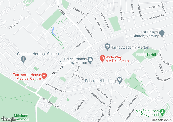 Map for Abbotts Road, Mitcham