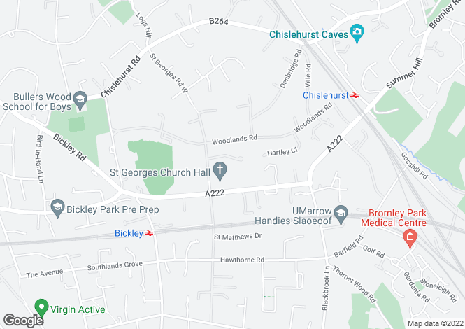 Map for Woodlands Close, Bickley Park, Bromley, Kent