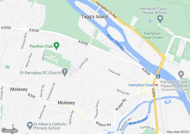 Map for Palace Road, East Molesey, Surrey, KT8