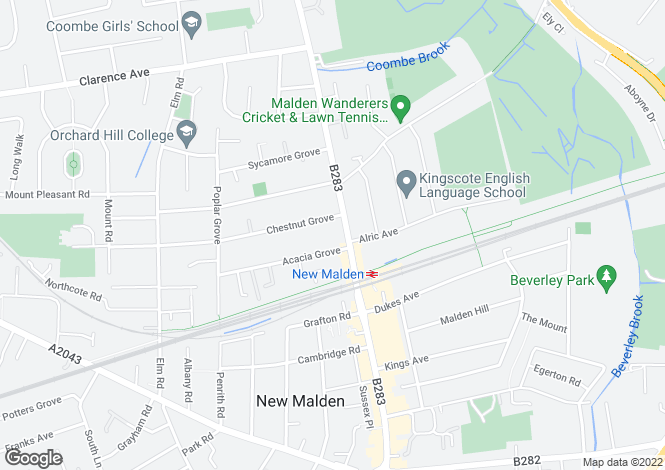 Map for New Malden, Surrey