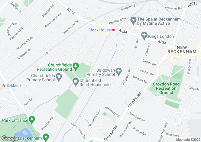 Map for Clock House Road,