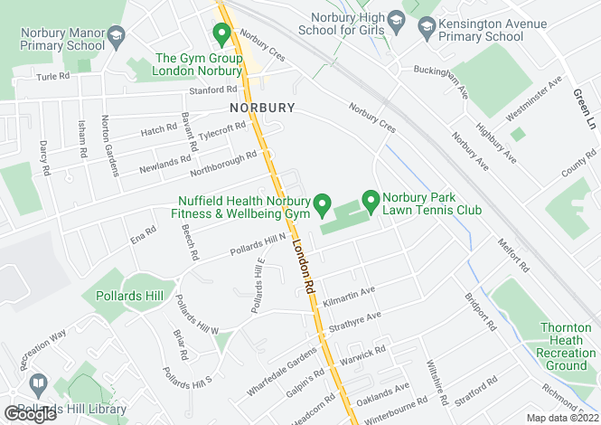 Map for Norbury, London, SW16
