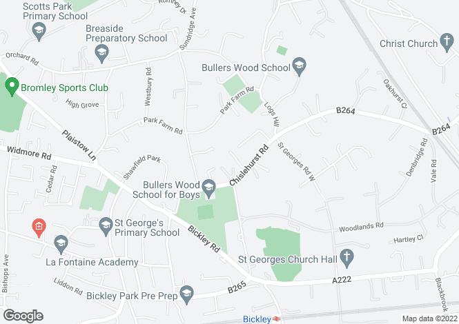 Map for 31 Chislehurst Road, Bickley, Bromley