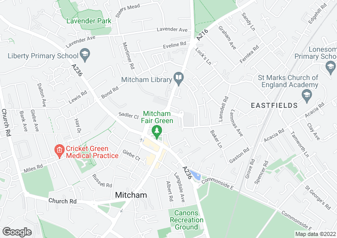 Map for London Road, MITCHAM, Surrey