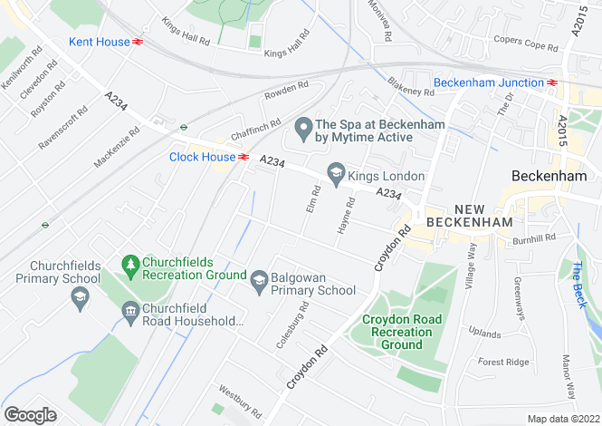 Map for Elm Road, Beckenham BR3