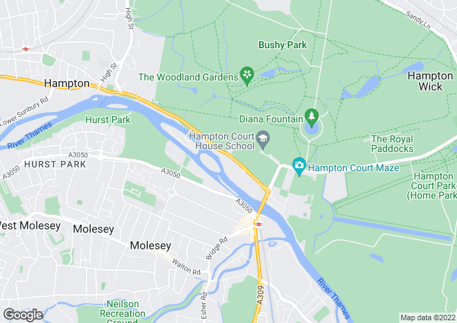 Map for Hampton Court Road, East Molesey