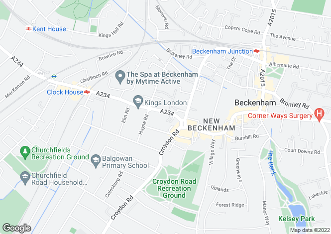Map for Beckenham Road, Beckenham