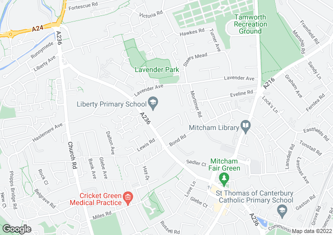 Map for Well presented 4 bedroom terraced house in Mitcham