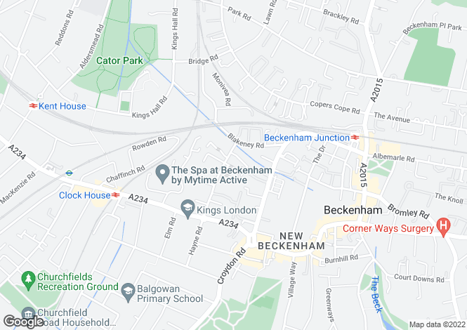 Map for Hayne Road, Beckenham, BR3