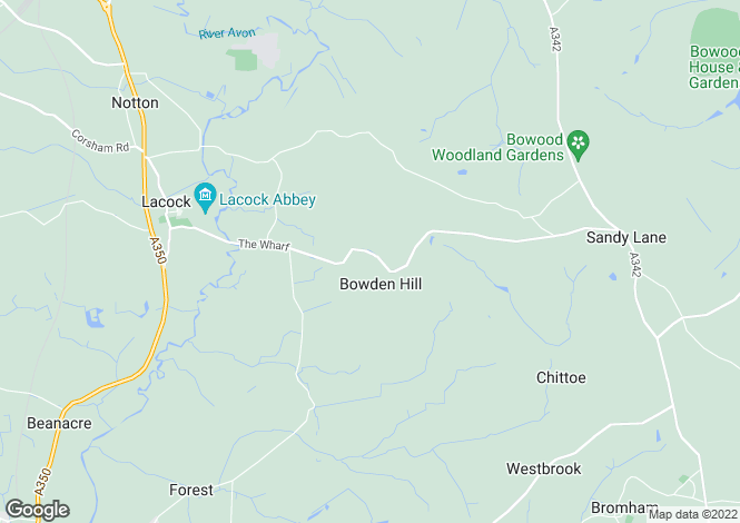 Map for Bowden Hill, Lacock, Chippenham, Wiltshire, SN15