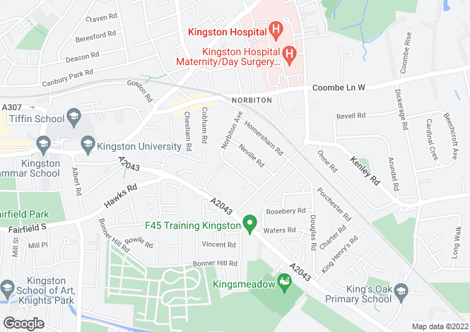 Map for Norbiton Ave, Kingston Upon Thames, KT1