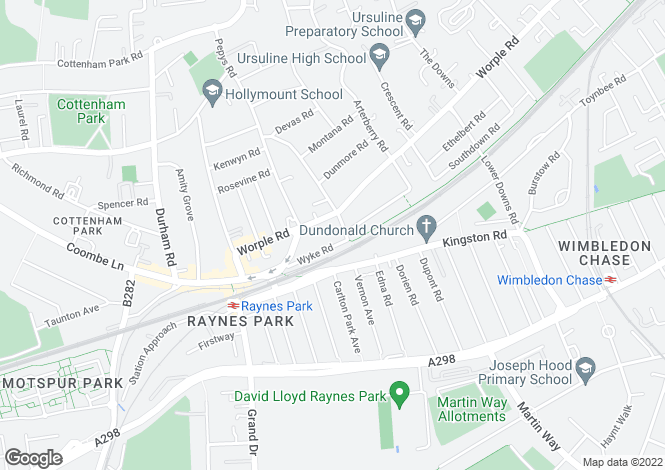 Map for Wyke Road, Raynes Park