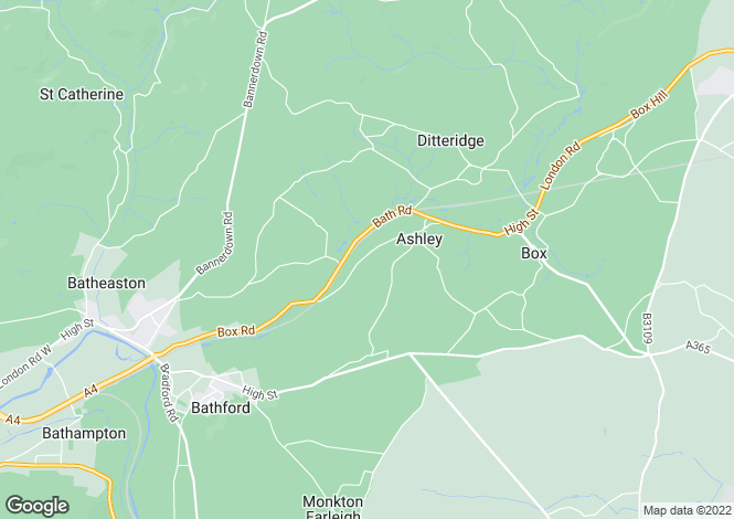 Map for Ashley, Box, Corsham, Wiltshire, SN13