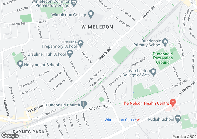 Map for Ethelbert Road, Wimbledon