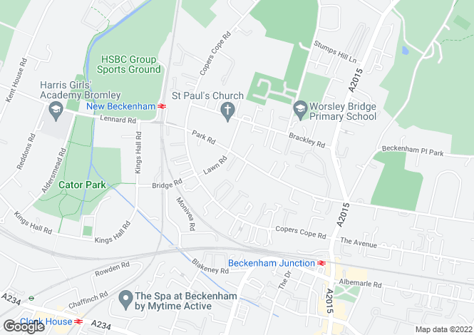 Map for Park Road, Beckenham, BR3