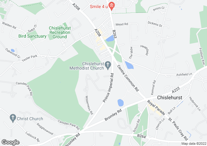 Map for Prince Imperial Road, Chislehurst, Kent