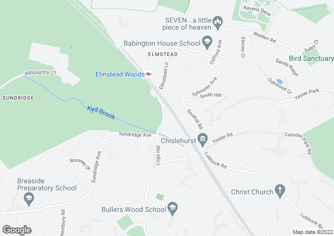 Map for Elmstead Lane, Chislehurst