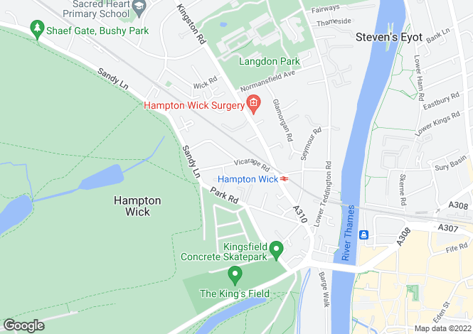 Map for Vicarage Road, Hampton Wick, Kingston Upon Thames, KT1