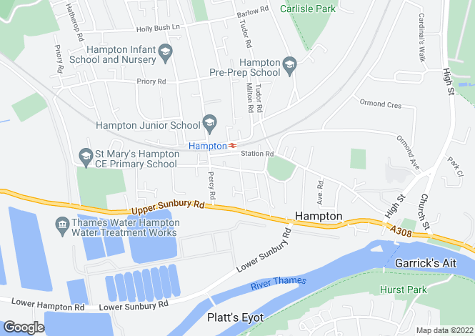 Map for Oldfield Road, Hampton, London, TW12 2AE