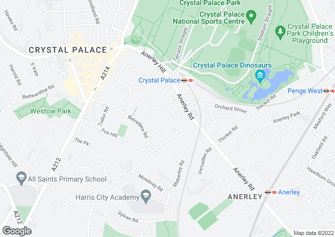 Map for Waldegrave Road, Crystal Palace