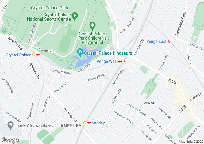 Map for Rosebank, Anerley Park, London, SE20