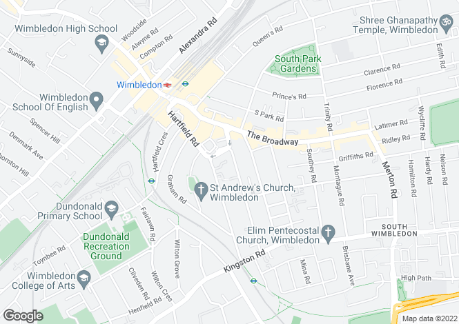 Map for Gladstone Road, Wimbledon, London