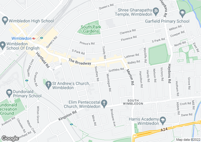 Map for Griffiths Road, Wimbledon, SW19
