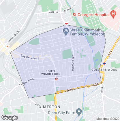 Map of property in South Wimbledon