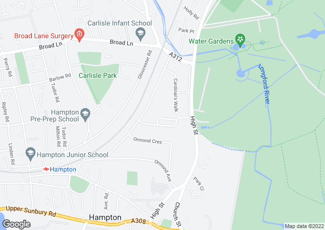 Map for Manor Gardens, Hampton, TW12