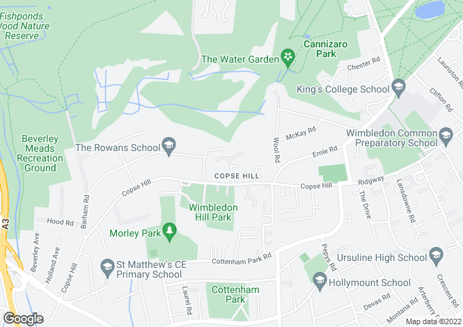 Map for Grange Park Place, Copse Hill, SW20