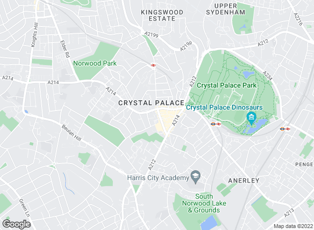 Map for Streets Ahead, Crystal Palace