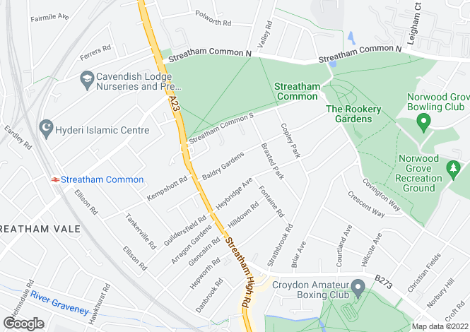 Map for Baldry Gardens, Streatham Common