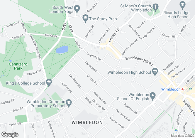 Map for The Grange, Wimbledon Common, SW19