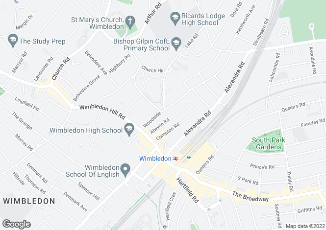 Map for Woodside, Wimbledon, SW19